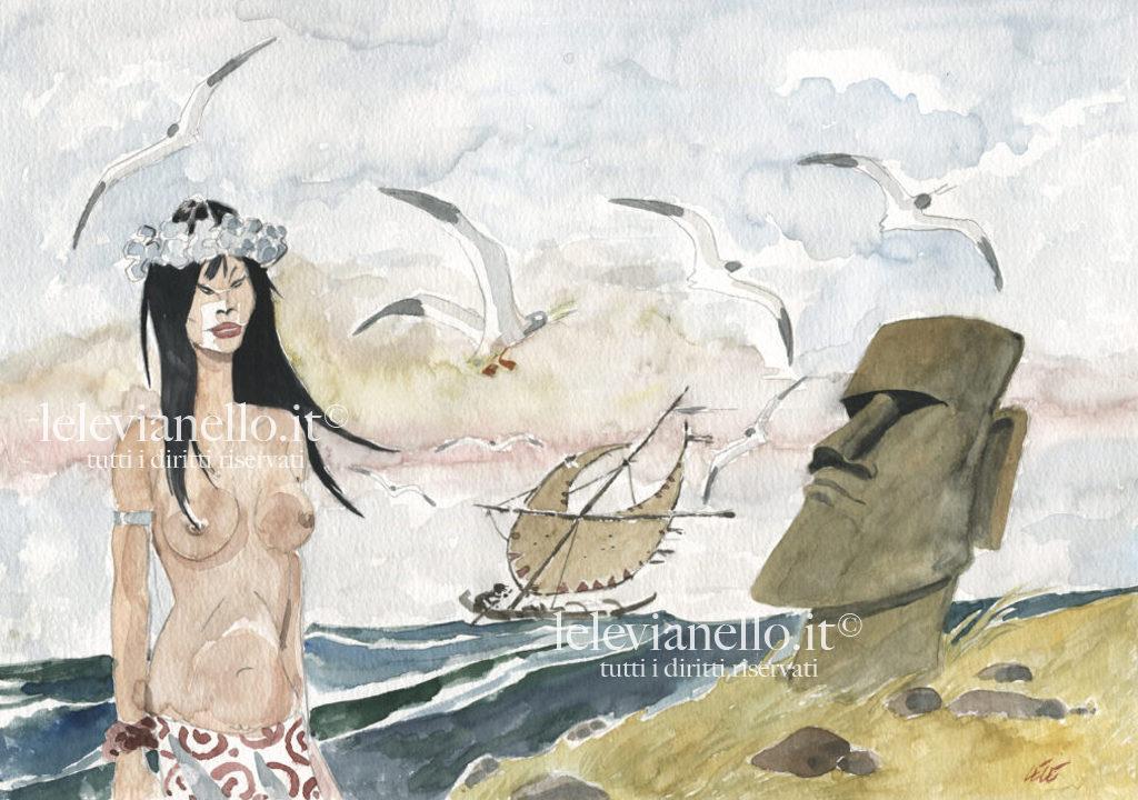 15. Ragazza con moai
