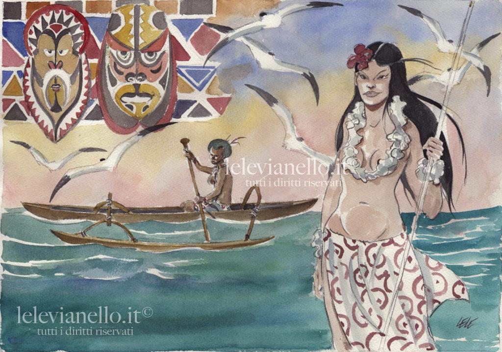 22. Donna e canoa della Polinesia