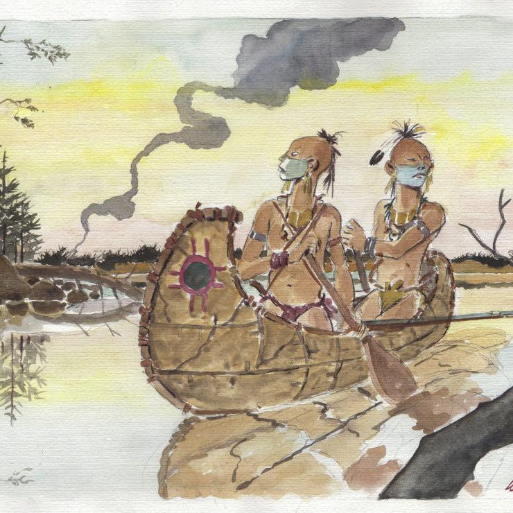 Irochesi in canoa